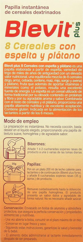 Blevit Plus 8 Cereales con Espelta y Plátano - 300 gr: Amazon.es: Alimentación y bebidas