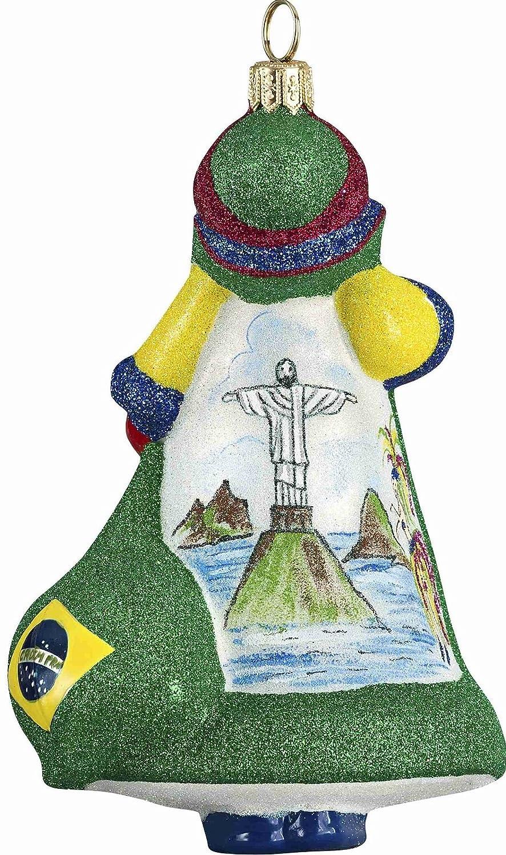 Glitterazzi Rio Brazilian Brazil Santa Polish Glass Christmas Tree Ornament New