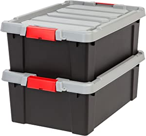 IRIS USA, Inc. 586520 Heavy Duty Stackable Utility Tote, 11.75 Gal, Black
