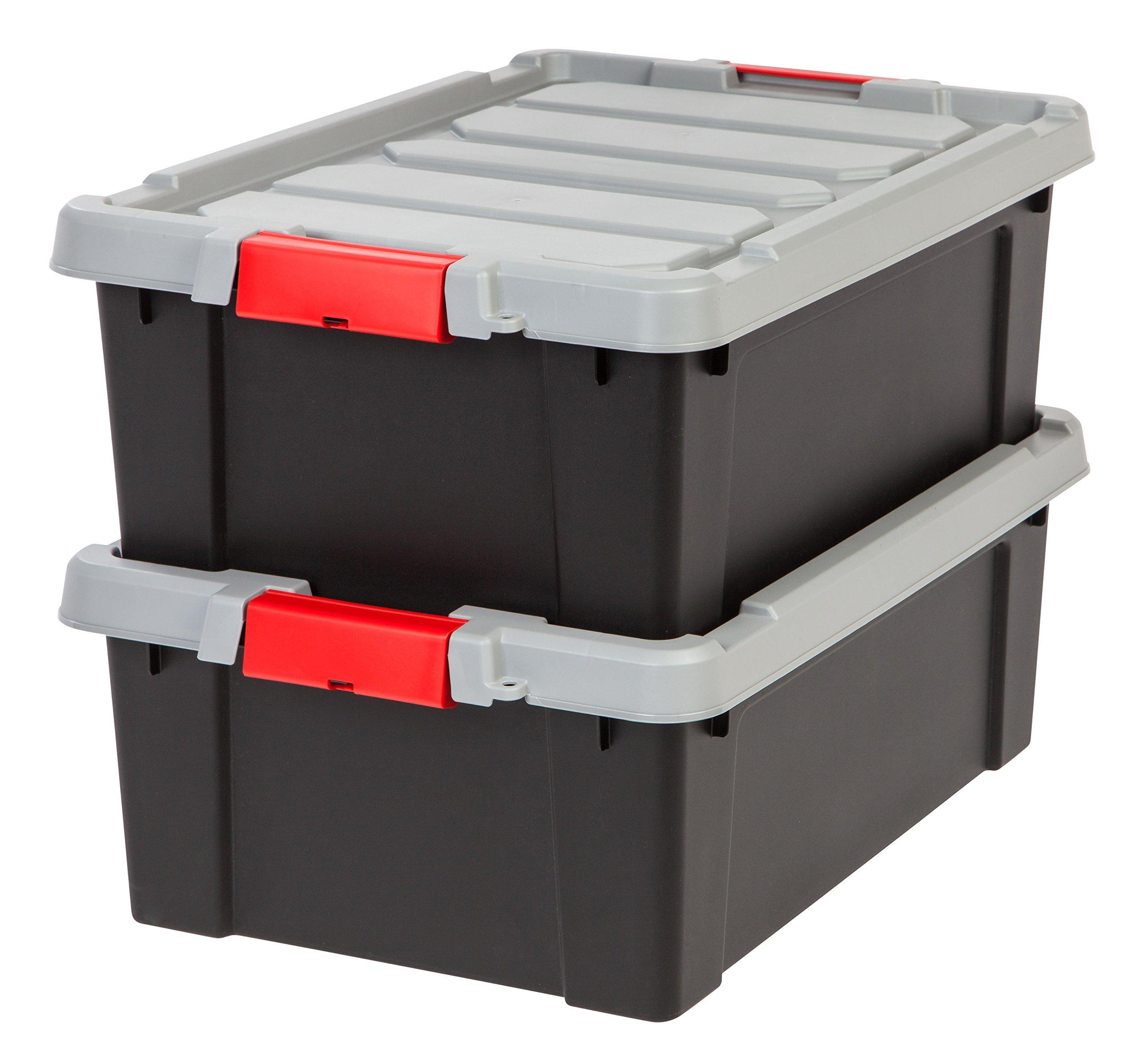 IRIS USA, Inc. 586520 IRIS Store-It-All Tote 10 Gallon, 2 Pack, Black, 11.75, Red Buckle by IRIS USA, Inc.