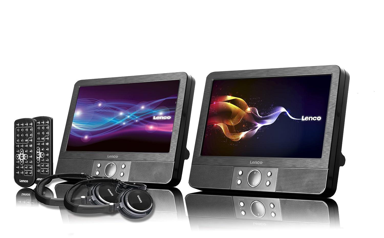 Lenco DVP-938 2 x 9 Zoll DVD-Player mit Bildschirm, 2x Kopfhörer ...
