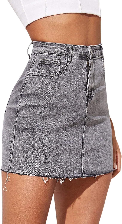 SheIn - Falda de mezclilla elástica para mujer - Gris - Large ...
