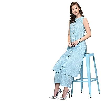 AYAN Cotton Silk A-line Kurta Palazzo Set for Women.