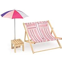 Badger Basket Double Doll Beach Chair with Table and Umbrella (fits American Girl dolls), Pink/Multi