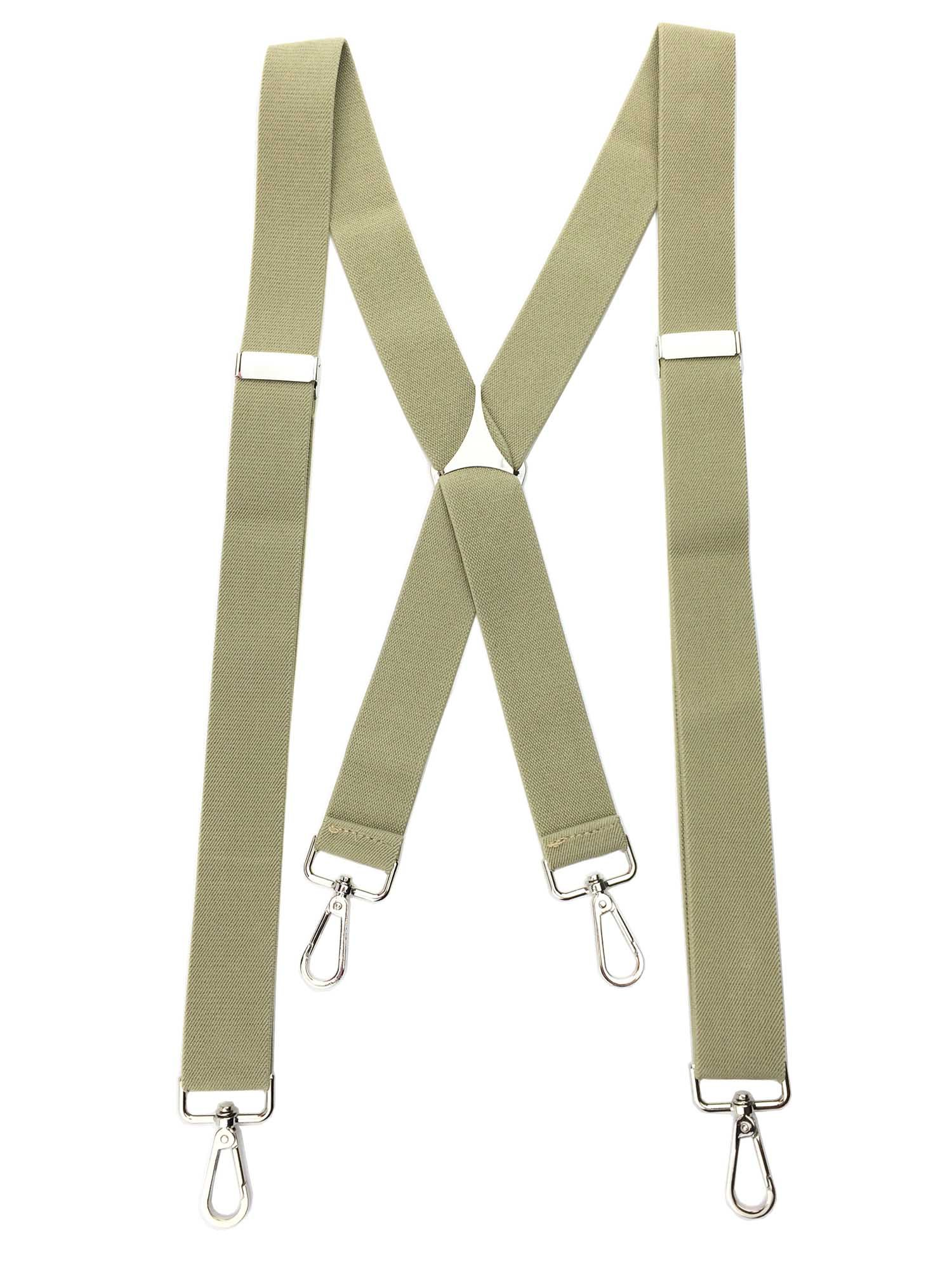 Romanlin Mens Suspenders with Swivel Hooks Heavy Duty Big and Tall Adjustable Braces Beige