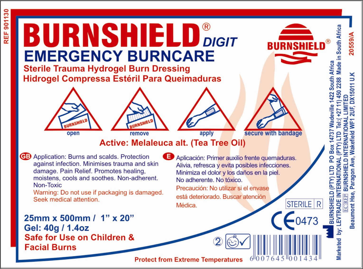 Burnshield Premium Digit Emergency Burn Dressing For Fingers and Toes 1'' x 20'' Strip Fda Approved