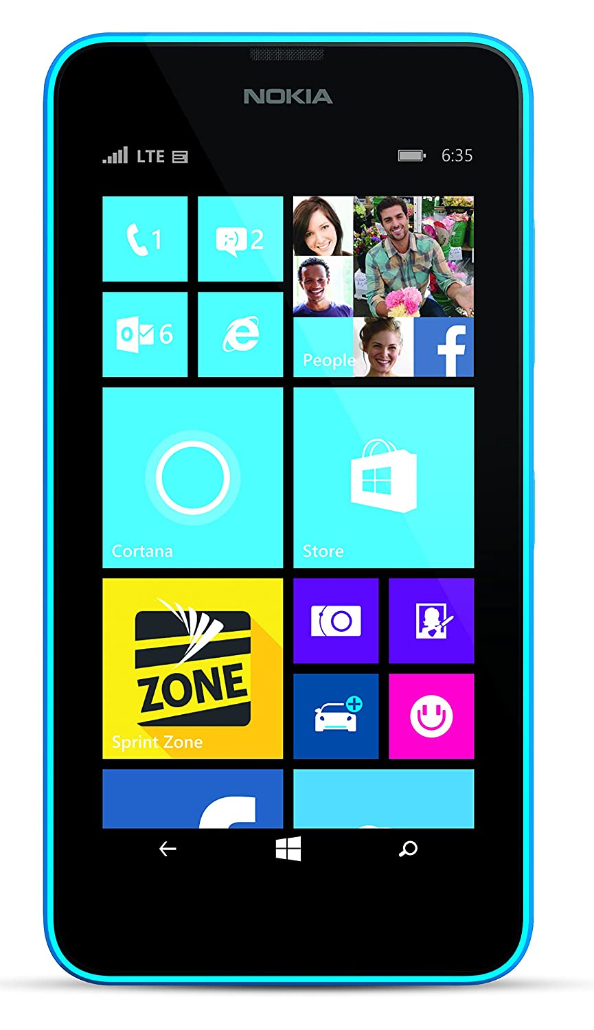 com nokia lumia cyan gb sprint cell phones com nokia lumia 635 cyan 8gb sprint cell phones accessories