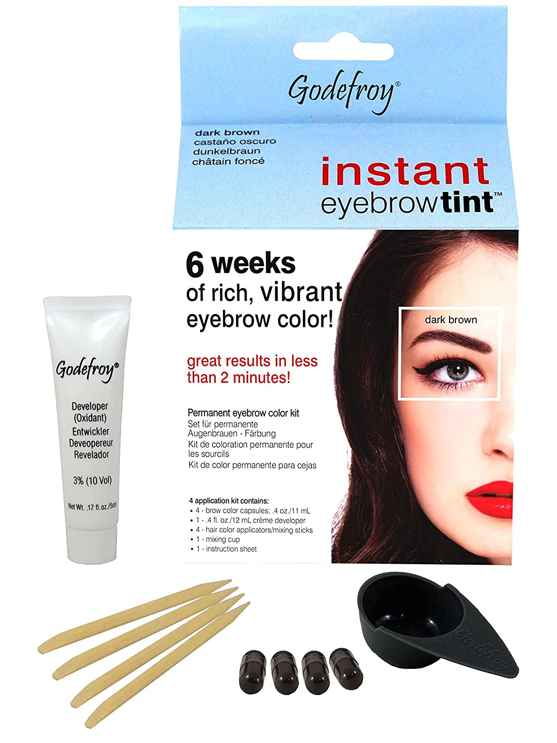 Godefroy Instant Eyebrow Tint Blister Dark Brown Blister: Amazon ...