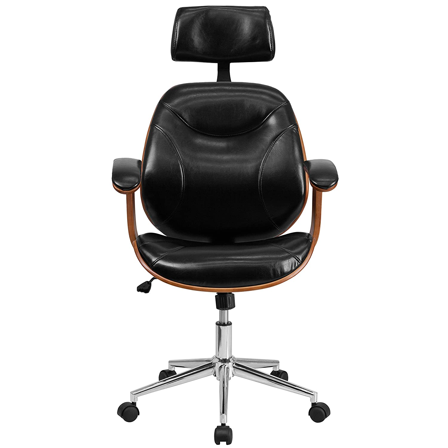 amazoncom flash furniture high back black leather executive wood swivel chair with arms kitchen u0026 dining
