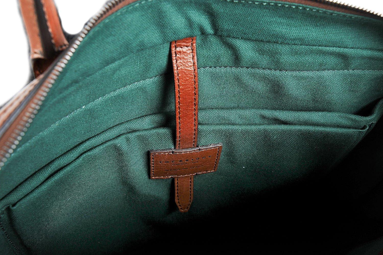 braun zwei Griff Aktentasche Business Tasche 06142701 The Bridge fein italienisches Leder tief hellbraun
