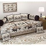 Ab Home Decor Diwan Set,500 Tc Floral Design,Set Of 8 Pieces,Coffee Color