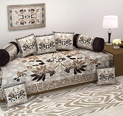 Ab Home Decor Diwan Set,500 Tc Floral Design,Set Of 8 Pieces,Coffee Color