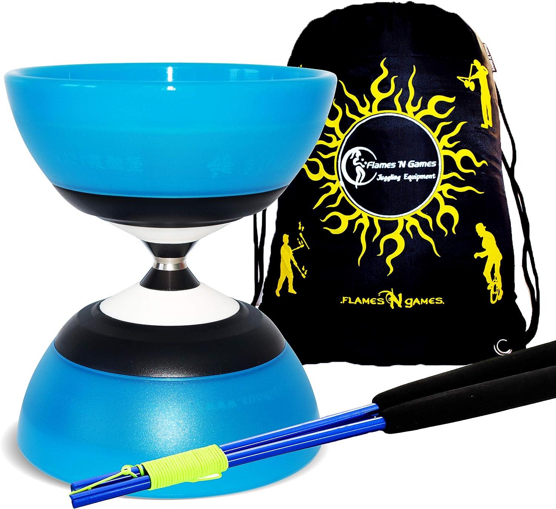 Sac de Voyage Bleu + Argent Baguettes Diabolo Spinning Haute Performance pour Professionnels! Sundia Essieu Diabolo 5 pour Roulement Evo Baguettes Ali Color/ées