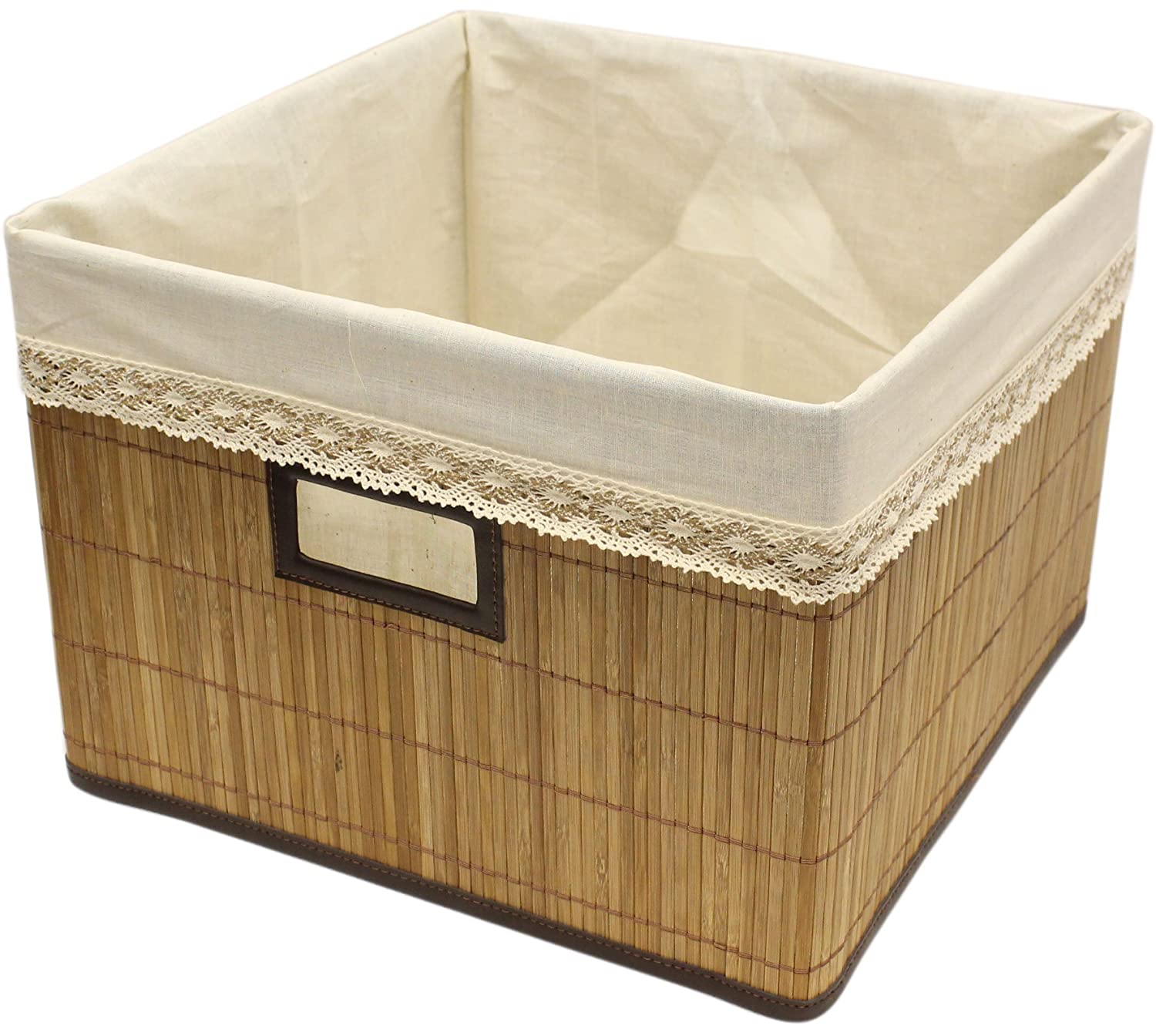 Brown Natural Bamboo Storage Bin Container with Cloth Liner (1, Small) Seta Direct S6723