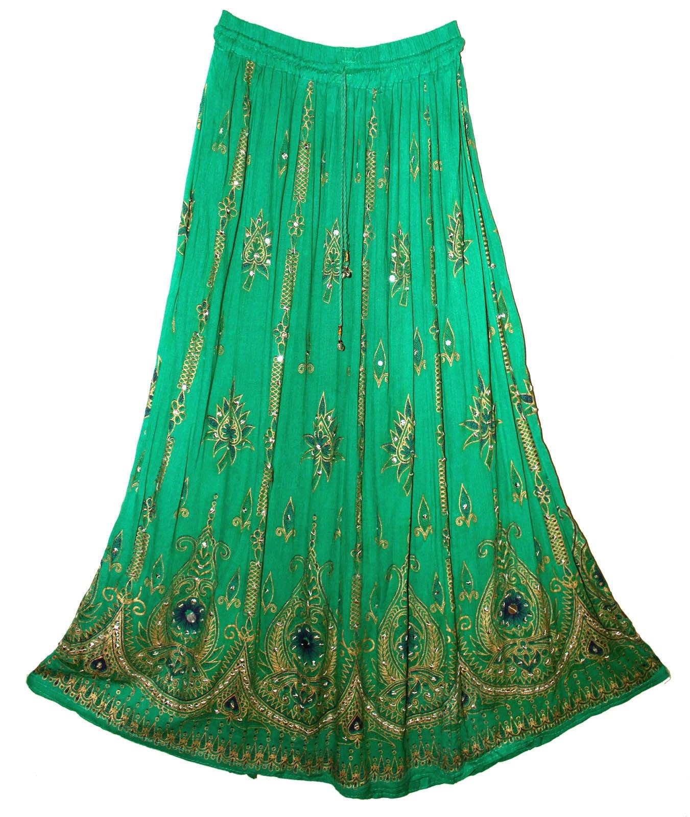 RADHY KRISHNA FASHIONS Green Yoga Trendz Women's Sequined Crinkle Broomstick Gypsy Long Skirt
