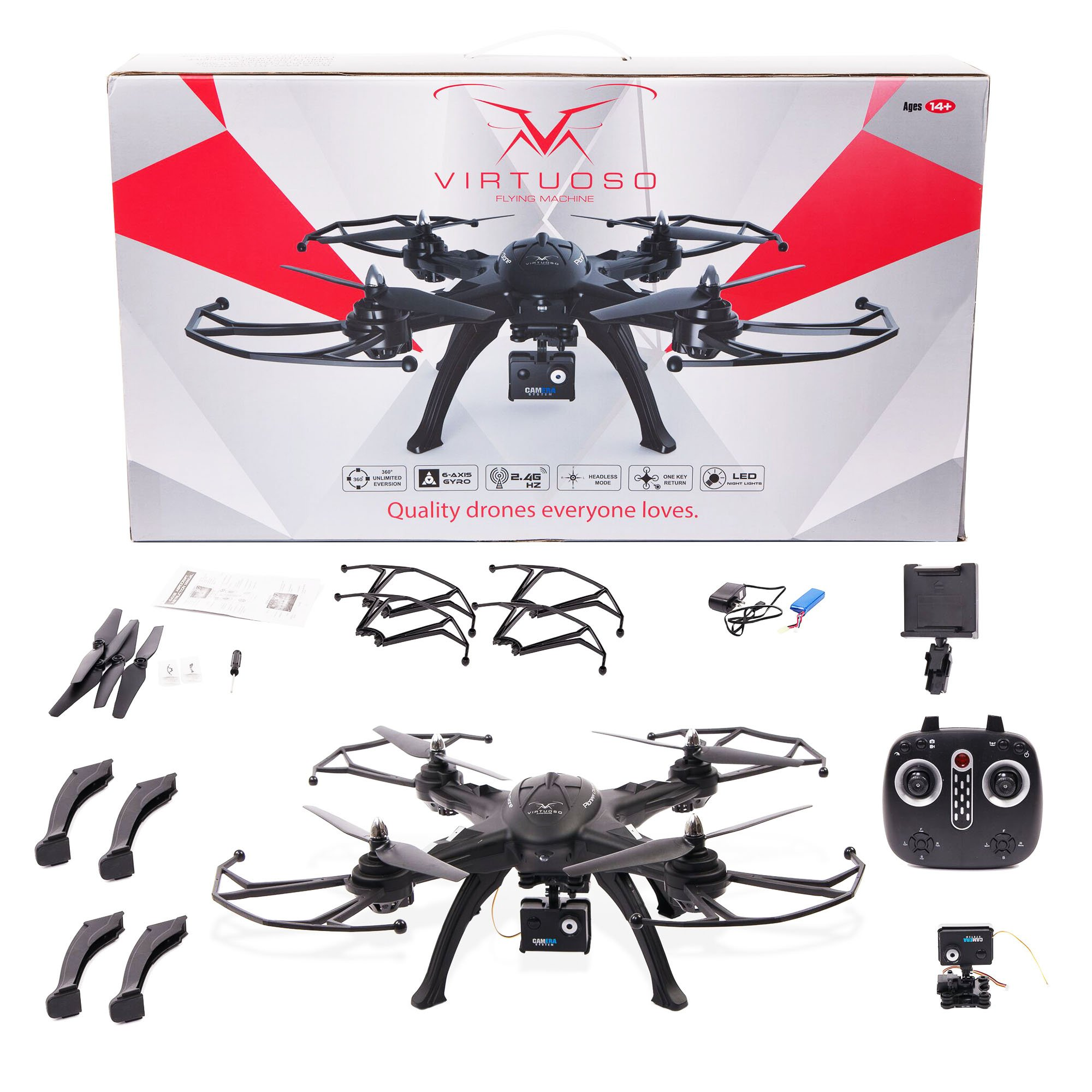 Quadcopter Flying Drone with HD Camera (720p) 6-Axis Remote Control RC Toy w/ LED Lights, Long Flight Time | Beginner, Easy to Fly | Altitude Hold | Rechargeable Li-Po Battery 7.4v 1800mAh by Virtuoso