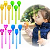 Bubble Wands Value Pack (1 Dozen) Highest Quality Assorted Colors & Shapes 8'' Non Toxic Summer Toy Outdoor Game Kids Party Favor Birthday Gift