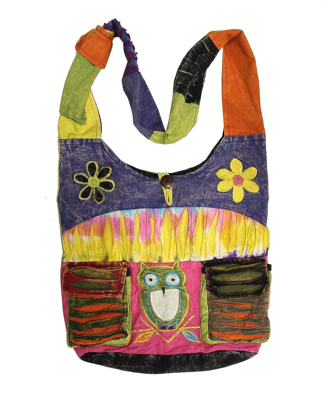 ea40d312b7f Amazon.com  KayJayStyles Hippie Hobo Sling Cross body Owl Bag Nepal (Navy  Blue)  Clothing