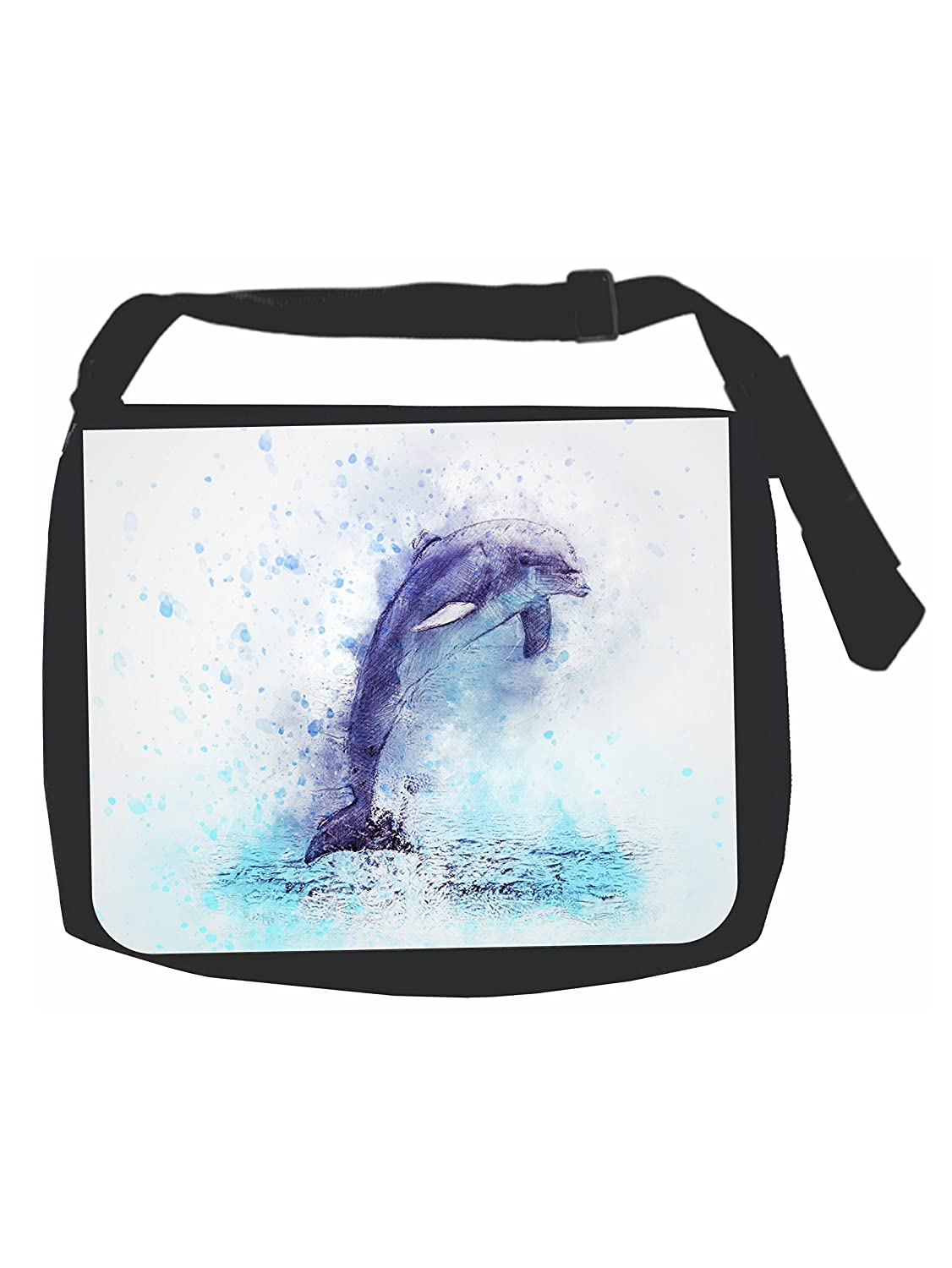 Watercolor Dolphin Black Laptop Shoulder Messenger Bag and Small Wire Accessories Case Set
