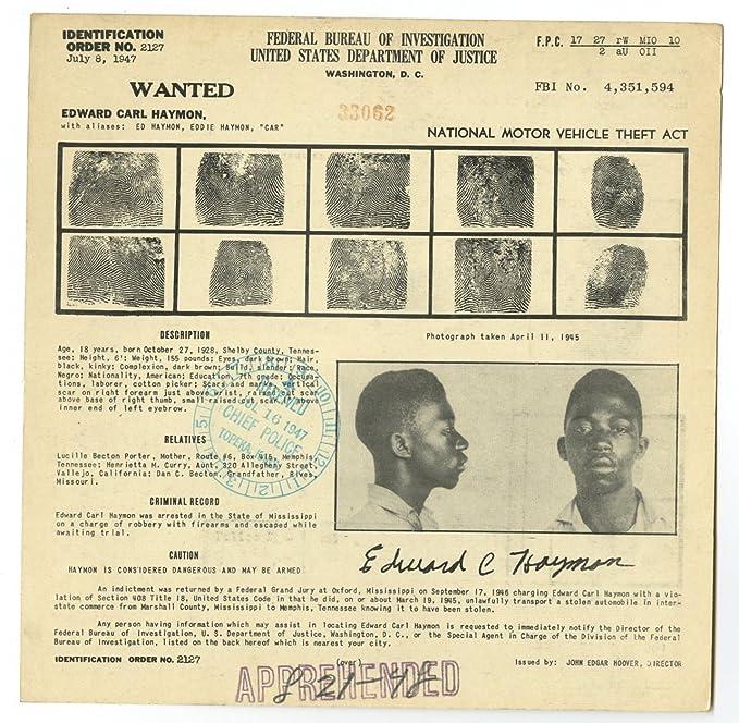 Amazon com: Wanted Notice - Edward Carl Haymon/Motor Vehicle
