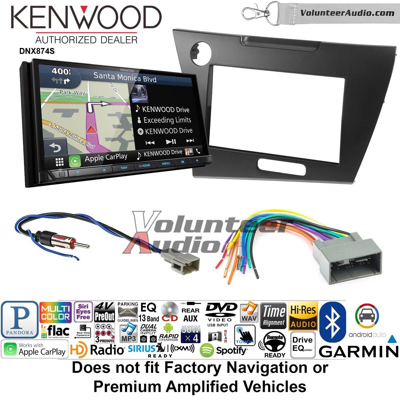 ボランティアオーディオKenwood dnx874sダブルDINラジオインストールキットwith GPSナビゲーションApple CarPlay Android自動Fits 2012ホンダシビック(ダークグレーサテン) B07BYYG125