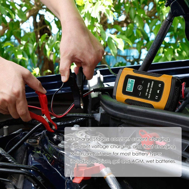 Kecheer Caricabatteria Auto Moto 12V,Caricabatterie per Auto,mantenitore di Carica Moto con Display LCD Digitale