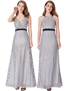 Ever Pretty Womens Fashion Stripe Vneck Floor Length Prom Evening Dresses 07290