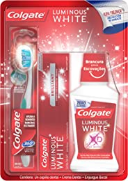 Colgate Luminous White Crema Dental, 75 ml + Colgate Luminous White Enjuague Bucal, 250 ml + 360 Luminous White Cepillo Dental