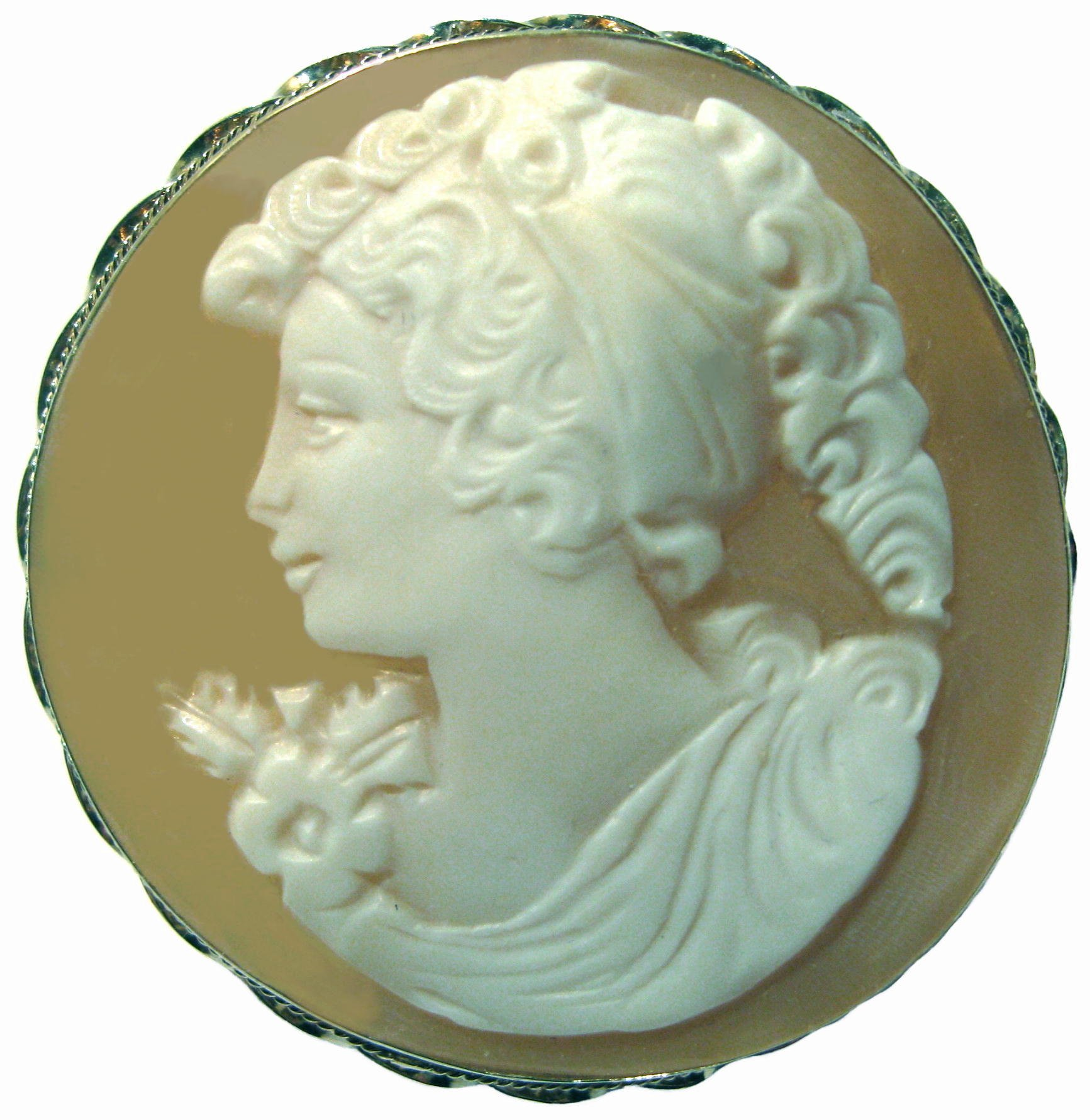 Cameo, Brooch, Pendant, Summer Love, Italian, Master Carved, Conch Shell,