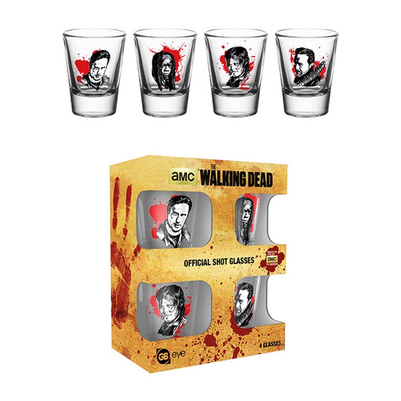 The Walking Dead Official - Vasos de chupito con los personajes (Paquete de 4) (Talla Única/Transparente): Amazon.es: Ropa y accesorios