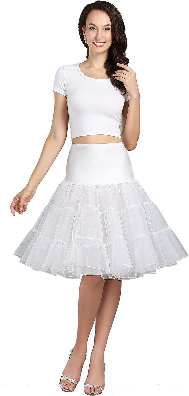 "WOWBRIDAL Women's Vintage 50s Rockabilly Petticoat 25"" Length Tutu Underskirt at  Women's Clothing store"