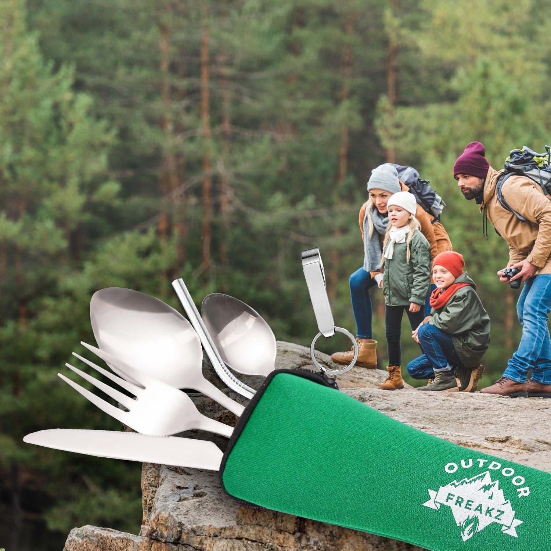 Couverts de campingOUTDOOR FREAKZ Couverts de Camping en Acier Inoxydable avec Sac en néoprène vert +
