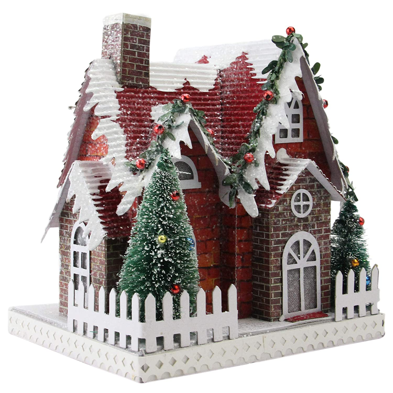 7.5 Holiday Moments LED Lit Holiday House Christmas Decoration Warm White Lights