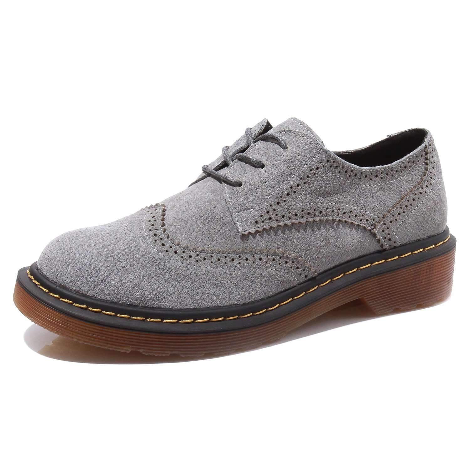 Smilun Lady¡¯s Full Brogue Suede Derby Shoes Classic Flats Round Toe B01M00ZICG 8.5 B(M) US|Grey