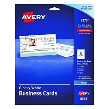 Amazon avery glossy photo quality business cards for inkjet avery glossy photo quality business cards for inkjet printers 8373 reheart Image collections
