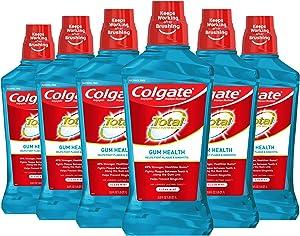 Colgate Total Gum Health Alcohol Free Mouthwash, Antibacterial Formula, Clean Mint - 1L, 33.8 fluid ounce (6 Pack)
