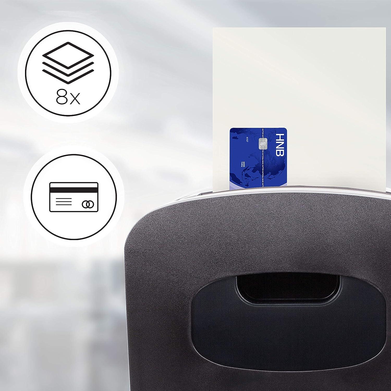 Duronic PS410 Aktenvernichter Freiberufler Shredder Datenschutz Kreditkarte Privatgebrauch Micro Cut 6-8 A4 Bl/ätter gleichzeitig 14 Liter Auffangbeh/älter /Überlastungsschutz Kleinb/üro
