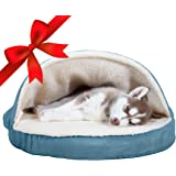 Furhaven Pet - Plush Ergonomic Contour Orthopedic Foam Mattress Dog Bed and Round Snuggery Hooded Dog Blanket Bed for…