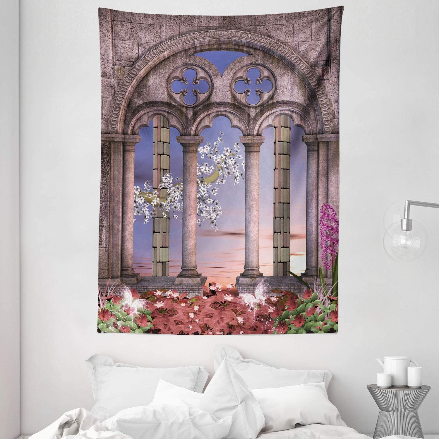"""Ambesonne Gothic Tapestry, Colonnade in Secret Garden with Flowers at Sunset Enchanted Forest, Wall Hanging for Bedroom Living Room Dorm, 60"""" X 80"""", Grey Blue Lilac Red"""