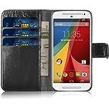Moto G Case - Genuine Leather Wallet Cover for Motorola Moto G (1st Gen), Shabby Style Black