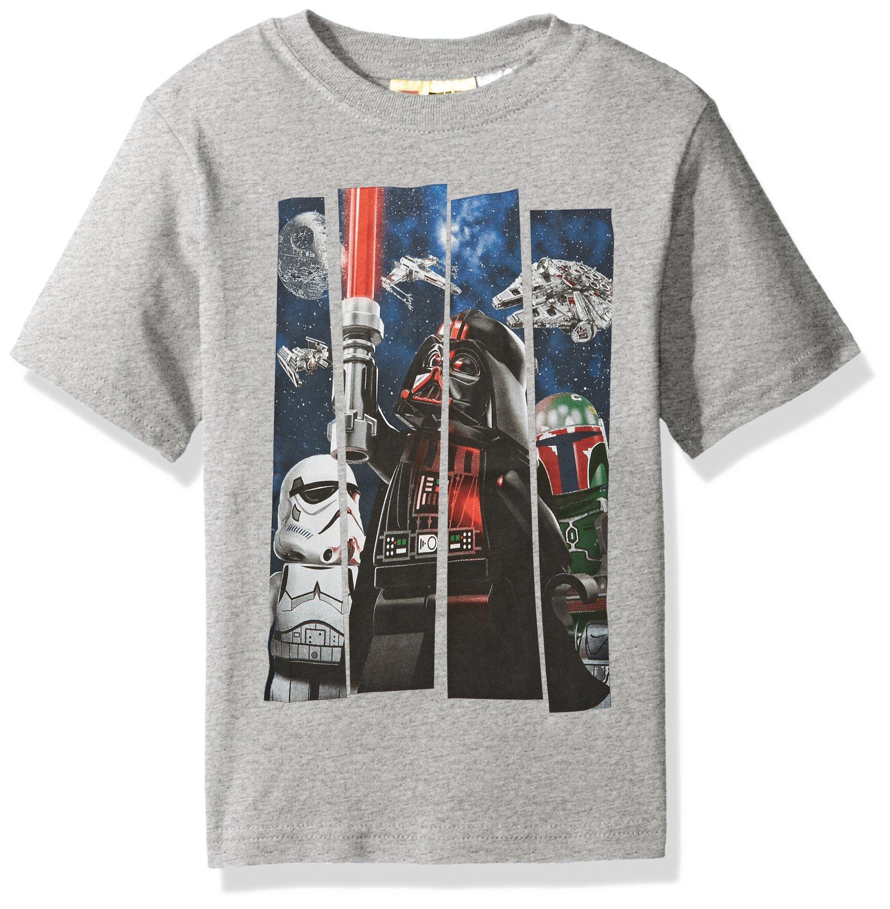 Star Wars Big Boys' Lego Darth Vader T-Shirt, Gray, 14/16