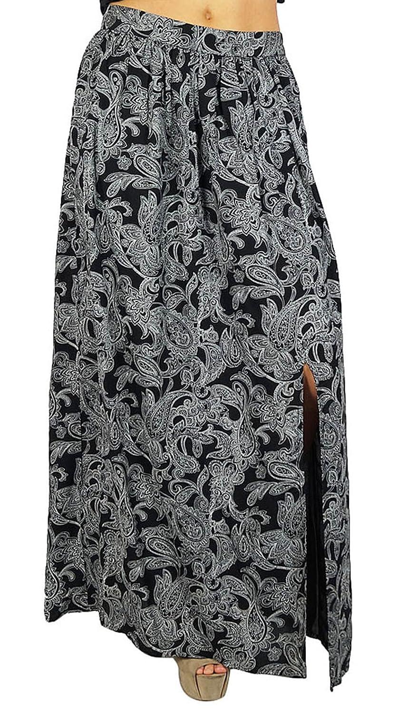 Bimba Frauen Long Black Rock Gedruckt mit Schlitz Rayon böhmische Art Wrap