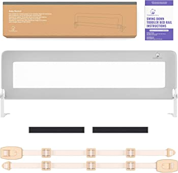 ComfyBumpy Extra Long Bed Rails for Toddlers (Grey XL)