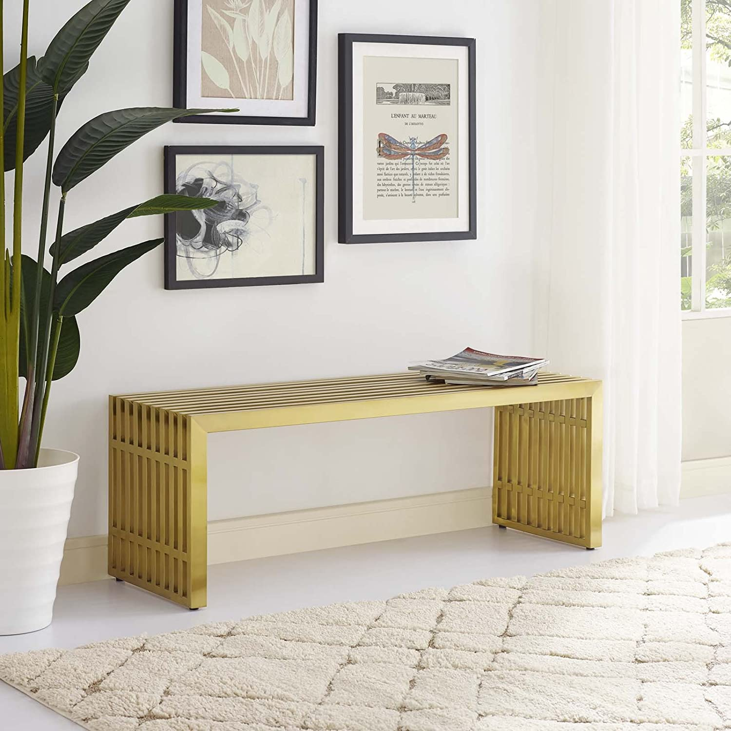Modway Gridiron Contemporary Modern Gold Stainless Steel Medium Bench, 46.5