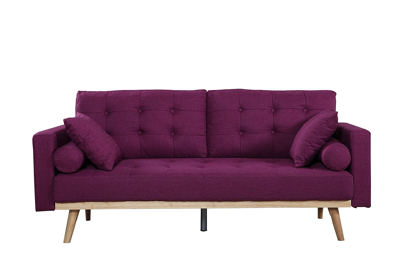 Amazon: Mid-Century Modern Tufted Linen Fabric Sofa (Purple): Kitchen &  Dining