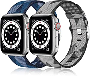 Henva Band Compatible with Apple Watch Band SE 42mm 44mm for Women Men, Fashion Woven Canvas Replacement Wristbands Compatible for iWatch Band Series 6/5/4/3/2/1, Diamond Black/White, Blue/White