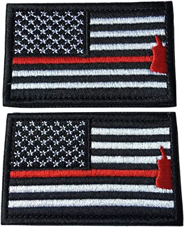1 of Hook /&Loop Fastener Patch w Firefighter Fireman United States of America USA Armed Forces Badge Black, Red 5 x 3 Inch Custom
