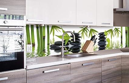 DIMEX LINE Küchenrückwand Folie selbstklebend Zen Steine 260 x 60 cm    Klebefolie - Dekofolie - Spritzschutz für Küche   Premium QUALITÄT