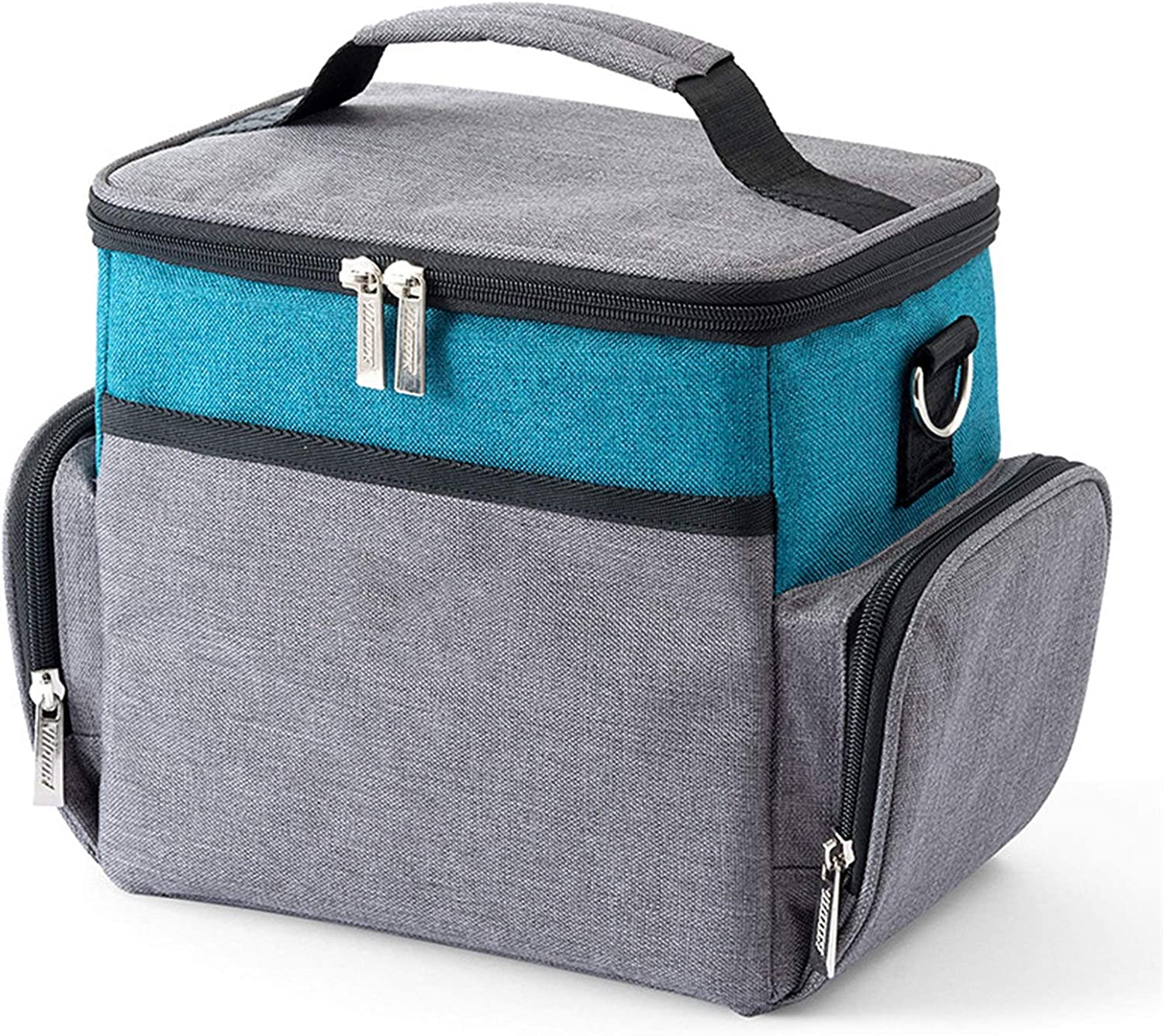 Waterproof Double Deck Lunch Bag,Insulated Cooler Bags/Large Picnic Tote/Reusable Thermal Food Delivery Backpack,for Office/School/Picnic (Color : C)