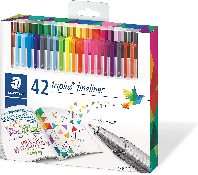 STAEDTLER 334 C42, Rotuladores de colores brillantes de punta fina multicolor Triplus Fineliner, Punta revestida de metal, ergonómico, lavable, Pack de 42 marcadores